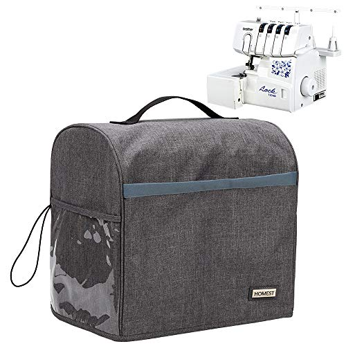 HOMEST Serger Sewing Machine Dust Cover with Storage Pockets, Compatible with Most Standard Singer and Brother Overlocker Machines, Grey