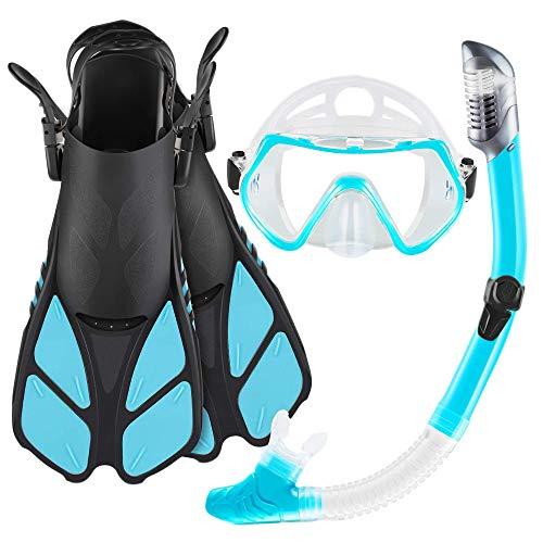 Frpower Máscara Fin Conjunto del Tubo Respirador para Adultos con Equipo De Snorkel, Aletas para Nadar Ajustable/Aletas Y Completo Equipo De Buceo Conjunto para La Natación, Buceo Y Buceo