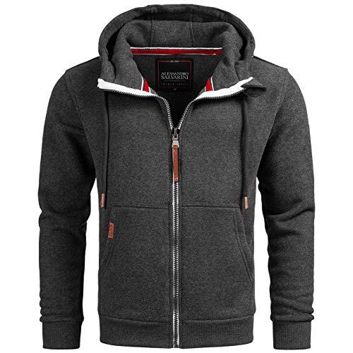 A. Salvarini Herren Sweatjacke Kapuzenpullover Jacke Hoodie Kapuze Sweater AS292 [AS-292-Dunkelgrau-Gr.XL]