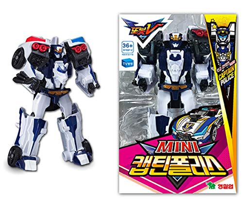 Tobot V Youngtoys Mini Captain Police Robot Action Figure Transforming to Police Car Toy Small Size for Boys (Single Product)