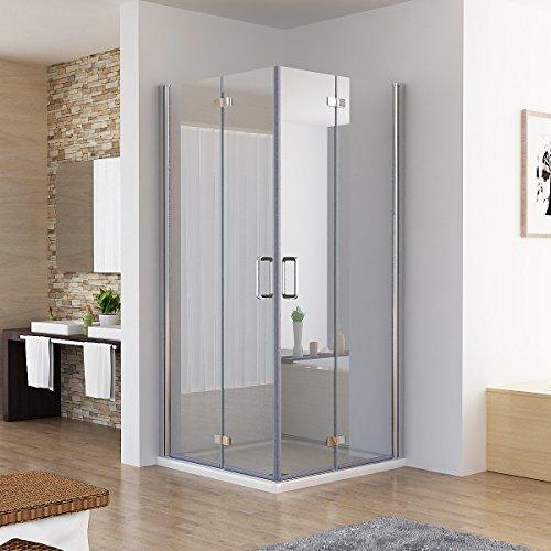 90 x 90 x 197 cm Duschkabine Eckeinstieg Dusche Falttür 180º Duschwand Duschabtrennung NANO Glas