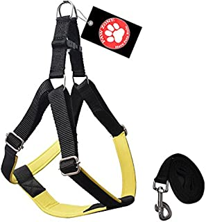 Pawzone Yellow Body Harness with Leash for Dogs -Large(1 Inch)