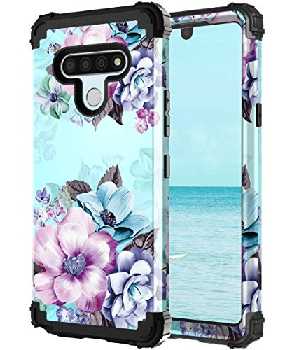 Casetego Compatible with LG Stylo 6 Case,Floral Three Layer Heavy Duty Sturdy Shockproof Full Body Protective Cover Case for LG Stylo 6,Blue Flower.