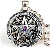 Collana protettiva unisex in stile Wicca con ciondolo raffigurante un pentacolo, simbolo pagano legato alla magia nera, con vetrino bombato
