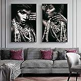 Maquillaje Plateado Mujer Africana Carteles e Impresiones artísticos en Lienzo Modelo Sexy Pinturas en Lienzo en la Pared Imágenes artísticas Decoración del hogar 40x50cmx2 Sin Marco