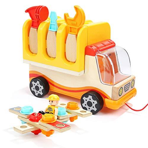 BALOO SPIELE. Holz Lastwagen mit faltbarer Werkbank und Werkzeug-Set. 3 in 1 vielfältiges Holzspielzeug, trainiert Kreativität und Feinmotorik.
