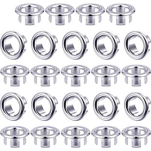 24 Paquetes de Cubierta de Anillo de Rebose de Fregadero Cubierta de Rebosadero de Borde de Agujero de Fregadero Repuestos de Inserción de Agujero Redondo para Baño Cocina Repuesto de Lavabo
