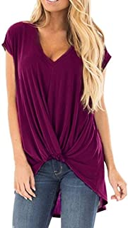 UUGYE Womens Short Sleeve V Neck Twist Knot Front Plus Size T-Shirts Blouse Tops