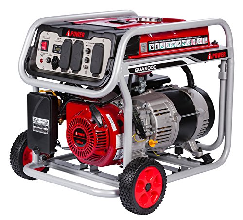 A-iPower SUA5000 5000 Watt Gas Powered Generator Easy Pull Recoil Start, red