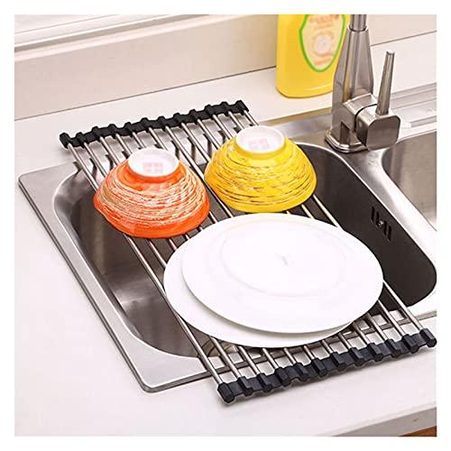 Colador de cocina Cesta de drenaje enrollar el bastidor de secado del plato sobre el fregadero de la cocina enrollar el fregadero del fregadero del lavado de secado del plato portátil de acero inoxida