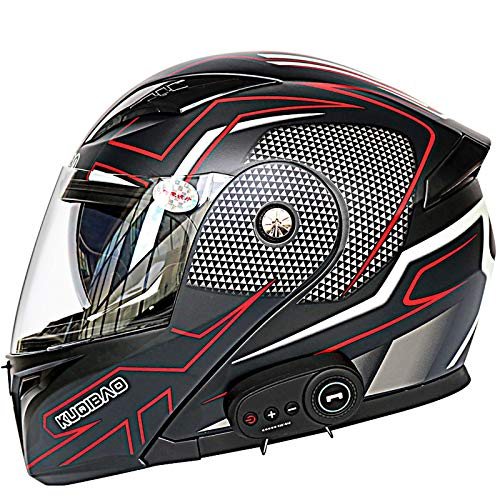 Casco Moto Modular Cascos Flip Up Motocicleta ECER 22-05 Aprobado con Doble Visera Casco Integral de Motocicleta Bluetooth Incorporado Auriculares Bluetooth CuatroTemporadas E,XXL(63~64cm)