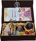 KACHVI Heilung von Kristallen und Edelsteinen 7 Chakra Tumbled Stones Kristallheilungsset aus 13 Teilen Meditation Spirituelle Kristallgeschenke für Frauen Natürlich mit Reiki Wünschelrute Pendel