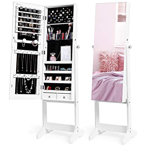Nicetree Jewelry Cabinet with Full-Length Mirror, Standing Lockable Jewelry Armoire Mirror Organizer, 3 Angel Adjustable, White