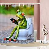 NYMB Die Porzellan-Frosche sitzen auf der Toilette 175,9 x 177,8 cm, schimmelresistentes Polyestergewebe, Duschvorhang-Set, fantastische Dekorationen, Badvorhang