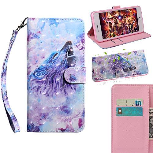 JARNING Premium färgglatt fodral för Nokia 2.3, flip läder plånbok målning skydd med ställ magnetisk stängning (ryr varg)