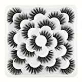 Newcally False Eyelashes Faux Mink 20MM Long Dramatic 5D Fluffy Thick Volume Lashes 10 Pairs Pack