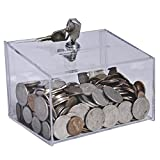 Clear-Ad - Tip Box with Lock 5x3x3 - Acrylic Coin Box - Money Collection Box - Cash Box with Slot - CBL-533 (Pack of 2)