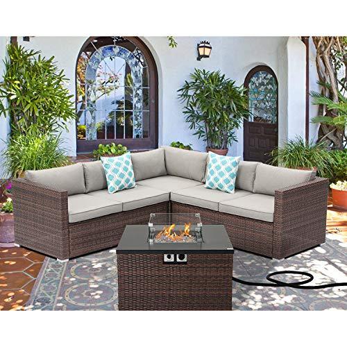 Sunbury Outdoor 4 Piece Sectional Sofa Propane Fire Pit, Dark Brown Patio Furniture Set w 32-inch 40,000 BTU Square Wicker Fire Table Tank 20 gal Outside for Garden, Poolside, Backyard