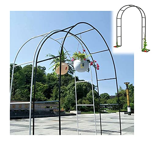 Gnova Negro Arco de jardín para decoración de Exteriores,pérgola cenador Arco antioxidante,Plantas trepadoras,Rosas,Ceremonia de Boda,Blanco Verde,1.2 m,1.4 m,1.8 m,2 m,3 m,3.5 m