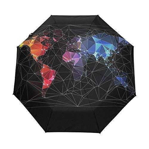 Xx101 Design Unico World Map Umbrella Originalità Artistica di personalità Protezione UV Automatica Ombrellone con Slip Umbrellas nixx0 (Color : Full Automatic)
