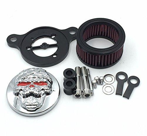 HTT Kit de filtre d'admission d'air pour Harley Sportster XL883 XL1200 1988-2015 Motif tête de mort chromée