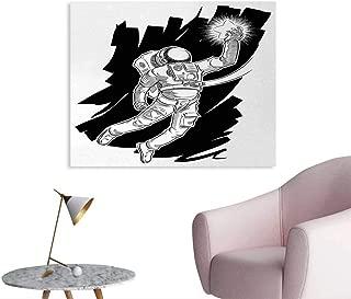 Tudouhoho Astronaut Art Poster Sketch of Spaceman Grabbing a Star Achivement Discovery Zero Gravity Technology Photographic Wallpaper Black White W36 xL32