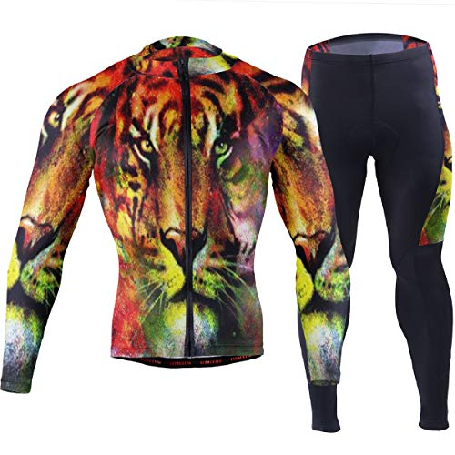 SLHFPX Mens Cycling Jersey Oil Painting Tiger Long Sleeve Outdoor Bike Jakcet Pad Pants Set