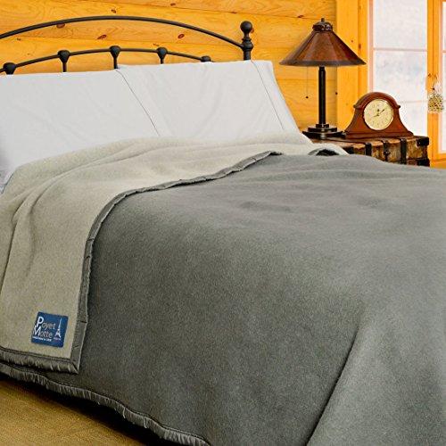 Poyet Motte Aubisque 500GSM Heavyweight 100-Percent Wool Blanket (Twin, Grey/Lt Grey)