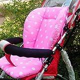Cojines de cojín de asiento cómodos impresos 100% nuevos de cochecito de bebé a prueba de lunares+rosa