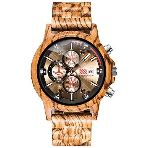WN-PZF Reloj de Pulsera para Hombre, Reloj de Cuarzo Redondo para Hombre, Reloj de Madera Maciza con Espejo de Cristal de máquina, Manos Luminosas, Esfera de Varios Niveles,C