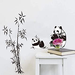 Black Lovely Panda Bamboo Wall Stickers Living Room Bedroom Tv Sofa Background Wall Home Decals Wallpaper Art Mural Cjzyy