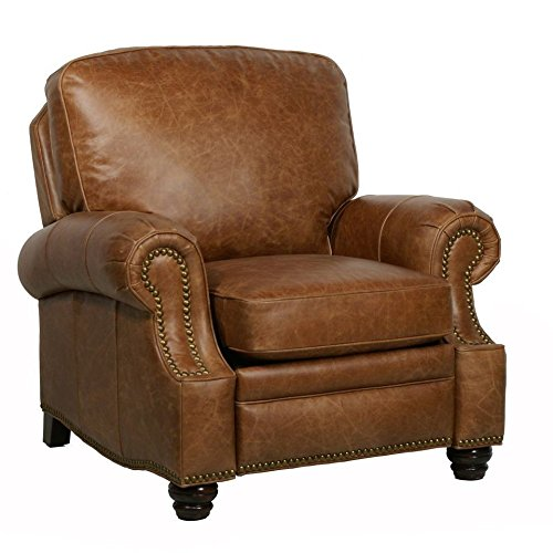 Barcalounger Longhorn II Leather Recliner Chaps Saddle Top Grain Leather Chair with Espresso Wood Legs - Standard Ground Curbside Delivery in Lower 48 States Only