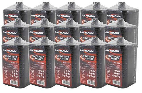 UvV Laternenbatterie, Blockbatterie, Trockenbatterie, 6 V / 9 AH - Karton mit 15 Stück, Hochleistungsbatterie, Blockbatterien Typ 4R25