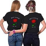 Best Friends Sister Tshirt für Zwei Damen Freund Shirts mit Rose Tops Sommer Oberteil BFF Geburtstagsgeschenk 1 Stücke Symbolische Freundschaft (M,Schwarz-Red Rose)