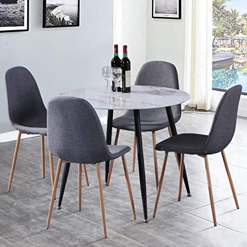 GOLDFAN Esstisch und 4 Stühle Modernes Design Runder Glas Esstisch Stoff Küchenstühle für Esszimmer Wohnzimmer Büro (Grau, Leinen)