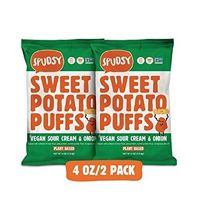 Vegan Sour Cream & Onion Sweet Potato Puffs by Spudsy   Gluten-free, Allergen-free, Non-GMO, Superfood Snack   4 oz Bag (2 pack)