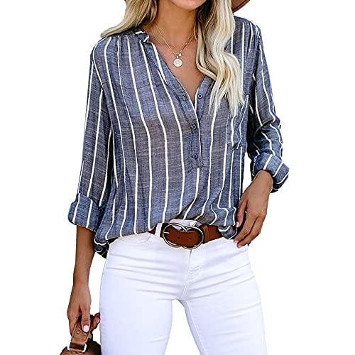 XYJD Lente en zomer dames casual V-hals lange mouwen shirt losse trui verticaal gestreept shirt T-shirt dames - blauw - 5XL