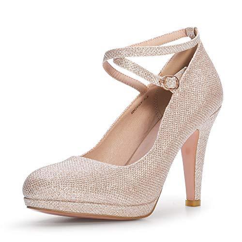 IDIFU Women's Tracy Crisscross Strap Platform High Heels Pumps Elegant Round Toe Prom Party Shoes (7.5 M US, Gold Glitter)