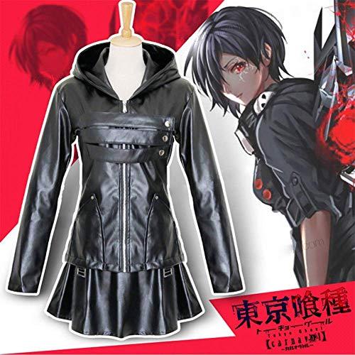 Cosplay Kleidung Anime Tokyo Ghoul Touka Kirishima Cosplay Halloween-Partei-Maskerade Gothic Frauen Uniformen Schwarzer Rock Kampfanzug Full Set M