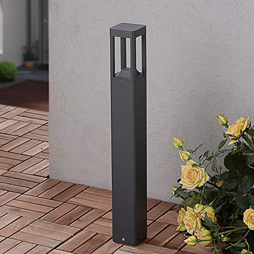 Lucande LED Außenleuchte \'Bernd\' (spritzwassergeschützt) (Modern) in Schwarz aus Aluminium (1 flammig, A+, inkl. Leuchtmittel) - Wegeleuchte, Pollerleuchte, Wegelampe, Sockelleuchte