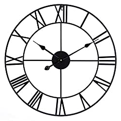 Infinity Time & Co Metal Round Shaped Oversized Antique Industrial Iron Skeleton Roman Numerals Silent Non Ticking Home Decor Wall Clock-24inch,Classic Matt Black
