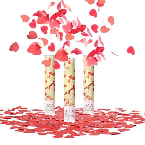 com-four® 3X Shooter Party Popper-Set 28 cm - confettis Cannon - confettis d'une Hauteur de 6m Effet - confettis