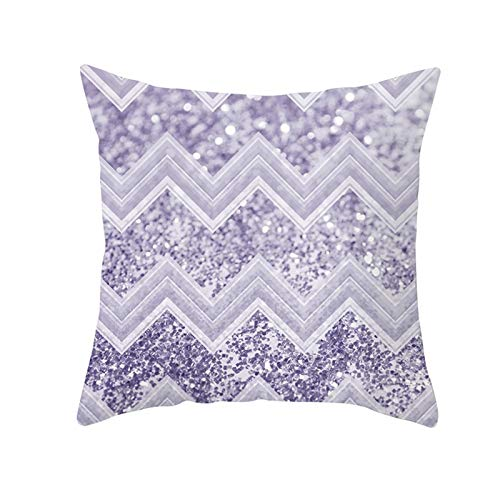 AtHomeShop 50 x 50 cm decorative cushion cover, cushion covers in polyester with wave pattern, soft, comfortable for home and sofa, bedroom, living room, car, terrace decoration, purple, style 8