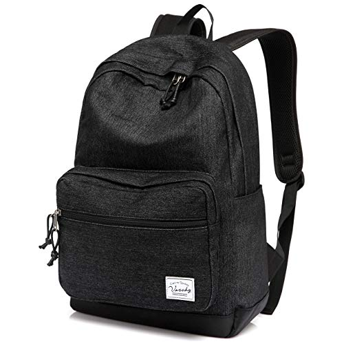 Vaschy Unisex Denim School Bag Rucksack Women 15 Inch Laptop Travel Backpack with Waterproof Cover