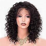 Perruque bouclée en cheveux naturels pour femme - Coupe courte - Véritables cheveux brésiliens non traités - Bonnet avec front en dentelle - Noir