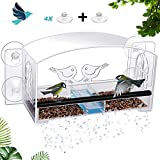 MIXXIDEA Window Birdhouse Feeder Made of Acrylic, Removable Seed Tray, Waterproof Refillable Sliding, Metal Perch Grip, Drainage Holes, Outside Bird Feeder Hanging Kit, One Extra Suction Cup (1 Pack)