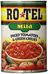 Add some kick to the kitchen, but not heat, with RO*TEL Mild Diced Tomatoes and Green Chilies RO*TEL Mild Diced Tomatoes and Green Chilies is the one-of-a-kind blend of vine-ripened tomatoes, zesty green chilies, and spices people love, but with a li...
