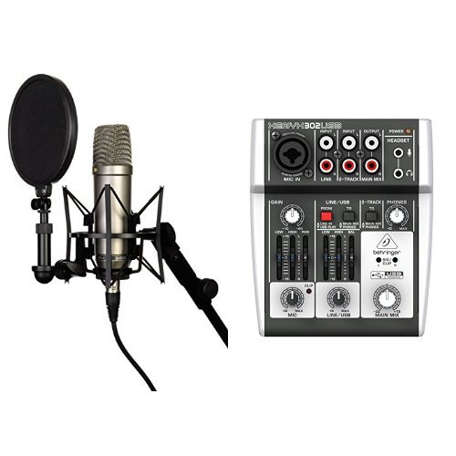 Rode NT-1A Großmembran-Kondensatormikrofon mit goldbedampfter und elastisch gelagerter 2,5 cm (1 Zoll) Nierenkapsel + Behringer XENYX 302USB 5-Input Mixer mit XENYX Mic Preamp und eingebautem USB Audio Interface Bundle