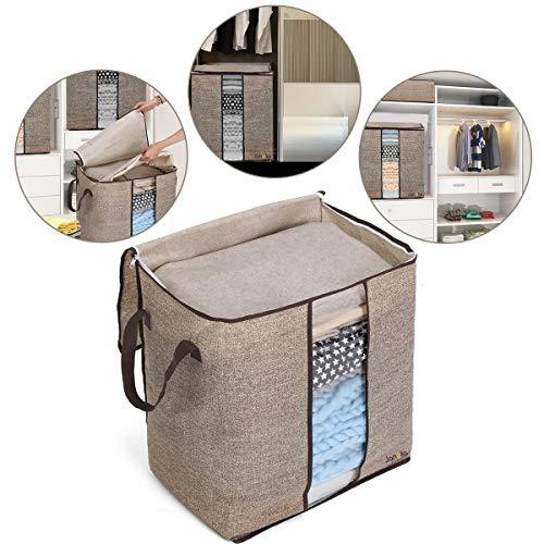 Janolia Kleidung Decke Quilts Aufbewahrungstasche, 67L Extra Space Aufbewahrungstasche, Eco-Friendly Bambus Vliesstoff,Braun