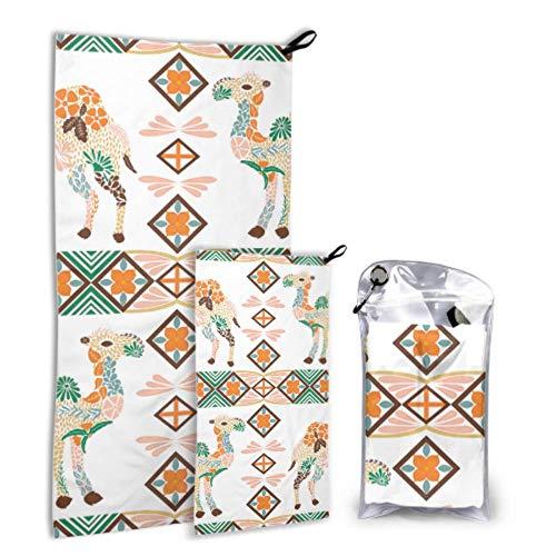 N\A Starke Kamele Ungewöhnlich Boby 2er Pack Mikrofaser Travel Strandtücher Kinderhandtuch Set Schnelltrocknend Am besten für Fitnessreisen Rucksack Yoga Fitnes